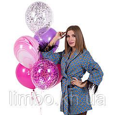 Воздушные шары на день рождения с конфетти и агатами