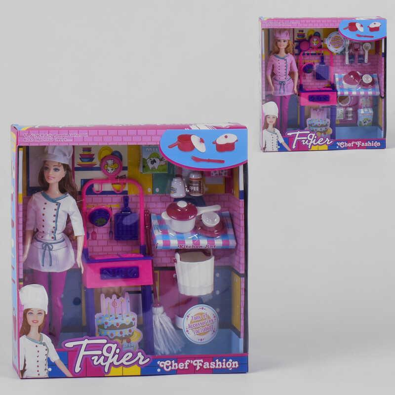 """Лялька JX 200-1 (36/2) """"Кухар"""", 2 види, меблі, кохонная начиння, в коробці"""