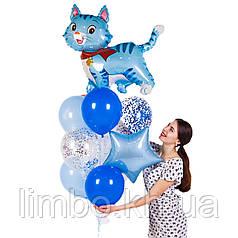 Шарики на день рождения мальчику с фольгированной фигурой Котик