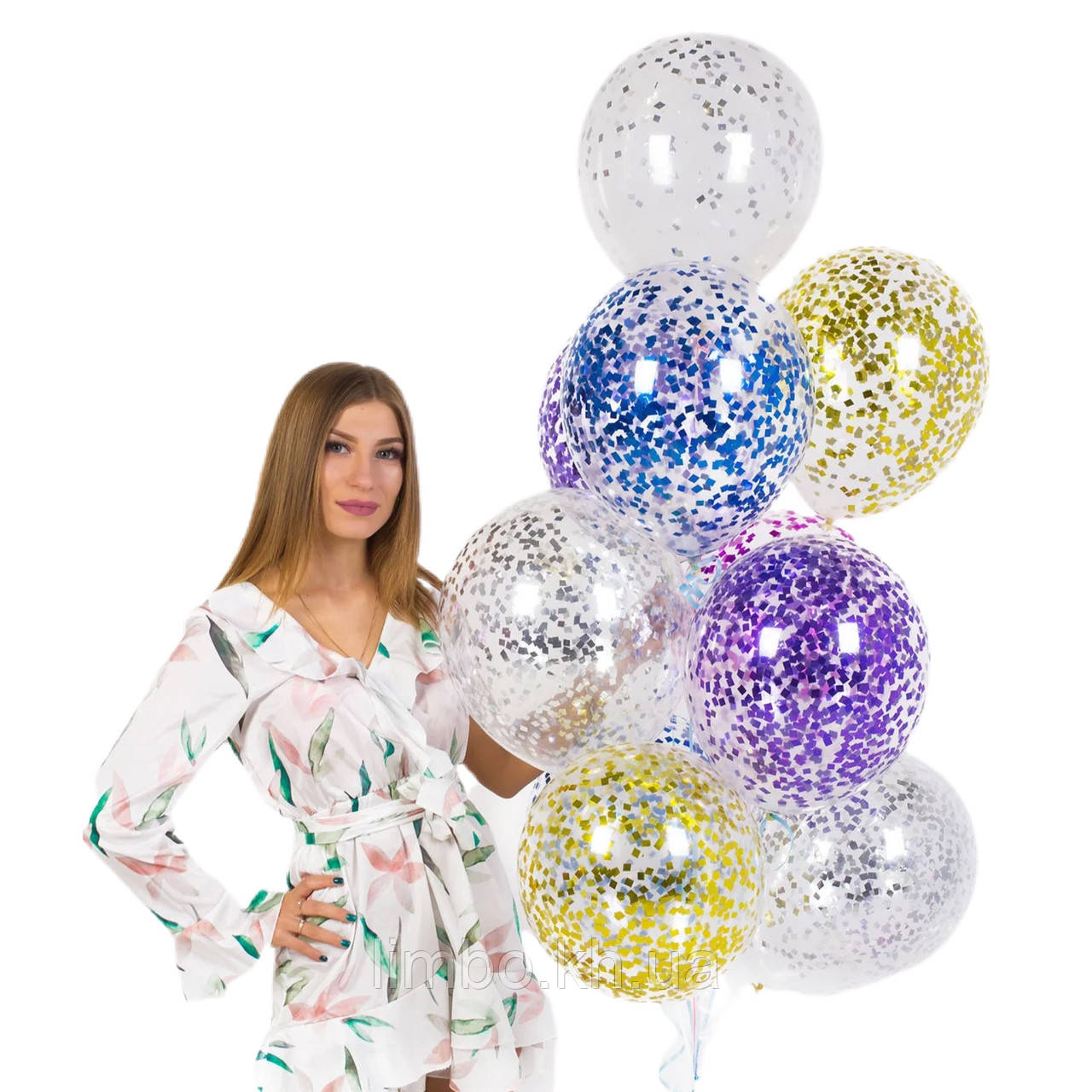 Гелієві кульки на день народження з конфетті