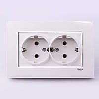 Розетка электрическая VI-KO Karre скрытой установки двойная с заземлением (белая)
