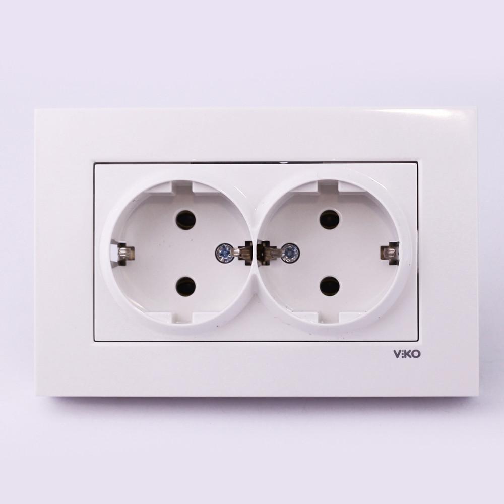 Розетка электрическая VI-KO Karre скрытой установки двойная с заземлением ( белая) - Свет e2206148e45