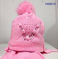 Зимня шапка с шарфом для девочки