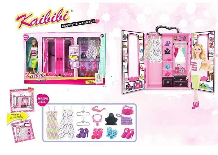 "Кукла с мебелью BLD 254 (12/2) ""Гардероб"", шкаф, наряды, аксессуры, в коробке"