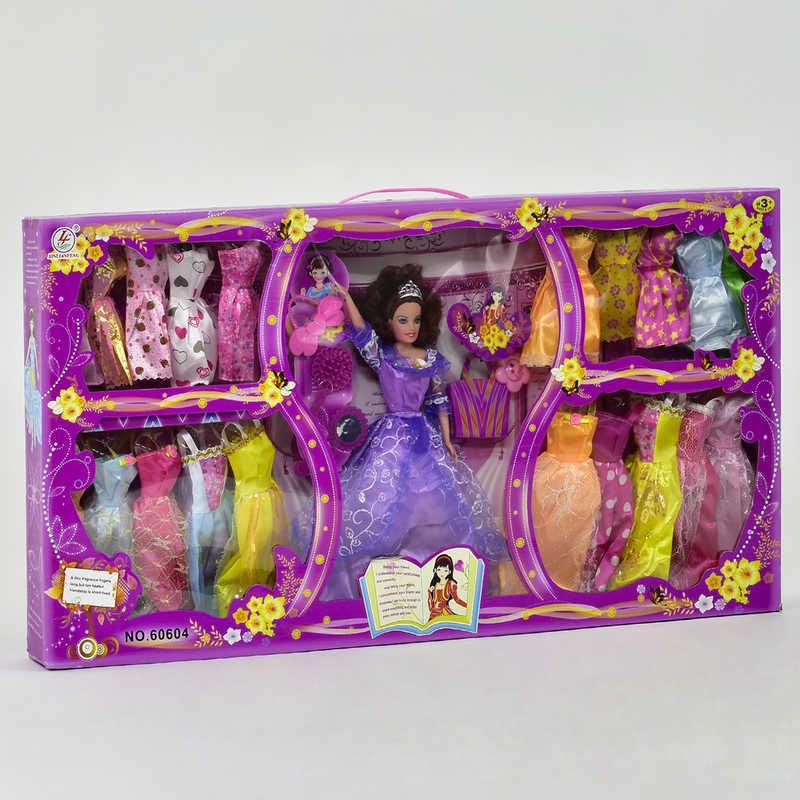"""Лялька з нарядом 60604-1 (12) """"Гардероб"""", 20 суконь з аксесуарами, в коробці"""