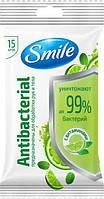 Влажные салфетки Smile Antibacterial Лайм, мята с витаминами 15 шт (4820048481953)
