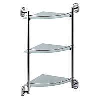 Полка этажерка в ванную стекло 3 яруса угловая с ограничителем Lidz (CRG)-114.10.03