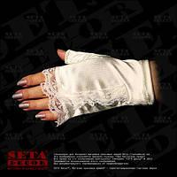 Перчатки-митенки бежевые атласные короткие без пальчиков