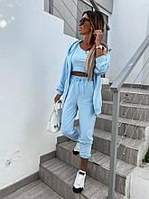 Женский прогулочный костюм тройка Двунитка Размер  42-44 46-48 В наличии 3 цветаЦена