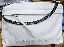 Женский белый клатч из искусственной кожи на 2 молнии с ремешком 29*18 см