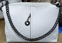 Женский белый клатч из искусственной кожи на 2 молнии с ремешком 25*16 см
