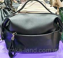 Женская черная сумка с ручкой и ремешком 30*19 см