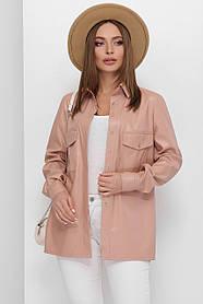 Женская рубашка с поясом из эко-кожи цвет пудровый