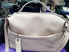 Женская светлая сумка с ручкой и ремешком 30*19 см