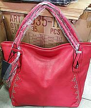 Женская красная сумка с двумя ручками на плечо 35*33 см
