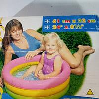 Бассейн надувной с надувным мягким дном 57402 круглый 3 секц. (1-3 лет), рем комплект, в кор. 61*22 см