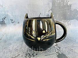 Чашка Керамклуб Кот 400 мл черная