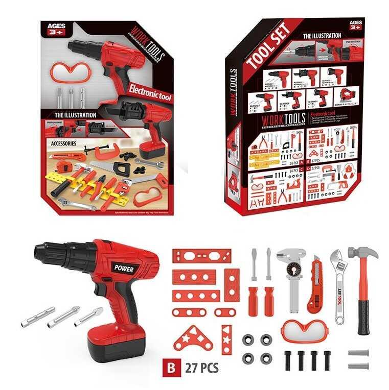 Набір інструментів OYG 602-7 B (24/2) 27 деталей, шуруповерт на батарейках в коробці
