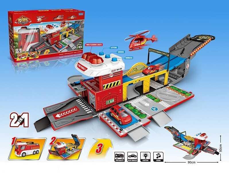 Гараж Е 5018 (8)  гараж 2-х этажный, свет, звук, 3 машинки,  в коробке