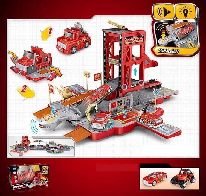 Гараж Е 7001 (12) 3 види, гараж 3-х поверховий, світло, звук, 2 машинки, в коробці