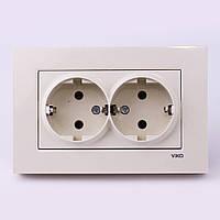 Розетка электрическая VI-KO Karre скрытой установки двойная с заземлением (кремовая), фото 1