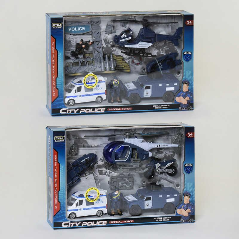Набір поліцейської техніки 8830 BA (12) 2 види, світлові і звукові ефекти, в коробці