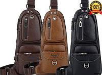 Сумка рюкзак через плече чоловіча Jeep 777 Темно коричнева (100)