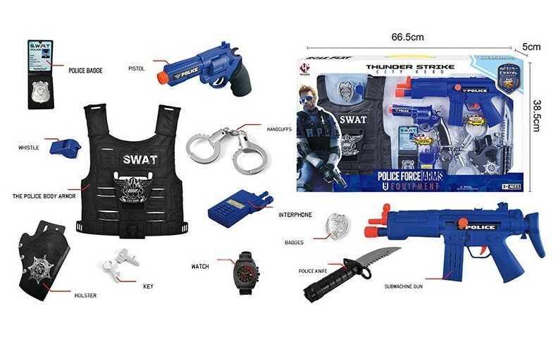 Набор полиции P 013 А (12) звук, трещотка,  в коробке