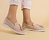 Туфли лоферы персиковые из натуральной замши со съемными кисточками