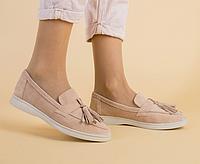 Туфли лоферы персиковые из натуральной замши со съемными кисточками, фото 1
