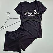 Пижама для беременных и кормящих мам (шорты + футболка) черный cat