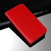 Чохол Idewei для Motorola Moto E7 Plus книжка шкіра PU з візитницею червоний