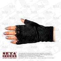 Черные перчатки-митенки атласные короткие без пальчиков