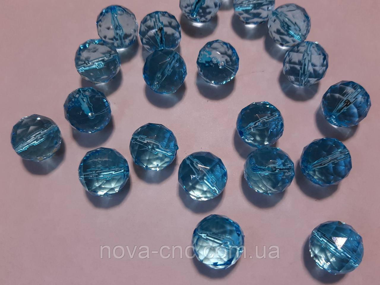 "Намистини акрил ""Куля трикутна грань"" блакитний 14 мм 500 грам"