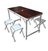 Стол для пикника Folding table + 4 chairs red, в комплектн 4 стула, цвет красный, мебель для пикника, складной