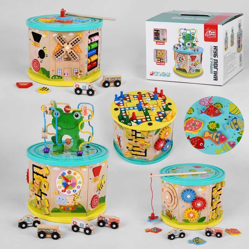 """Гр Деревянный логический куб  49679 (6) """"Fun Game"""",  в коробке"""
