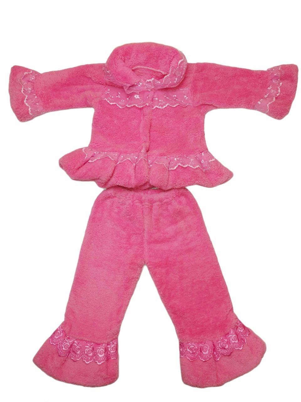 Дитячий теплий костюм дівчинки з мереживом велсофт
