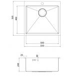 Кухонна мийка з нержавіючої сталі 550x505 мм. AquaSanita LUN100N, фото 2