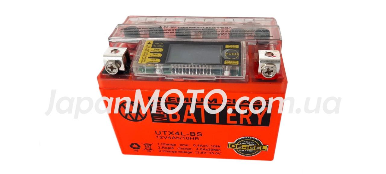 Аккумулятор 4A 12V Honda/Yamaha (YTX4L-BS) VLAND гелевый с цифровым вольтметром 113x70x87