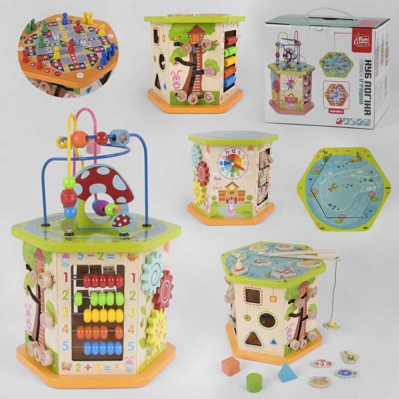 """Гр Деревянный логический куб 89870 (6) """"Fun Game"""" в коробке"""