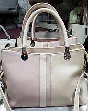 Женская молочная сумка Люкс с пудровой вставкой 33*22 см