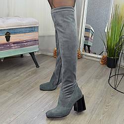 Ботфорты чулки женские замшевые на каблуке. Цвет серый. 38 размер