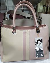 Женская пудровая сумка Люкс с молочной вставкой 33*22 см