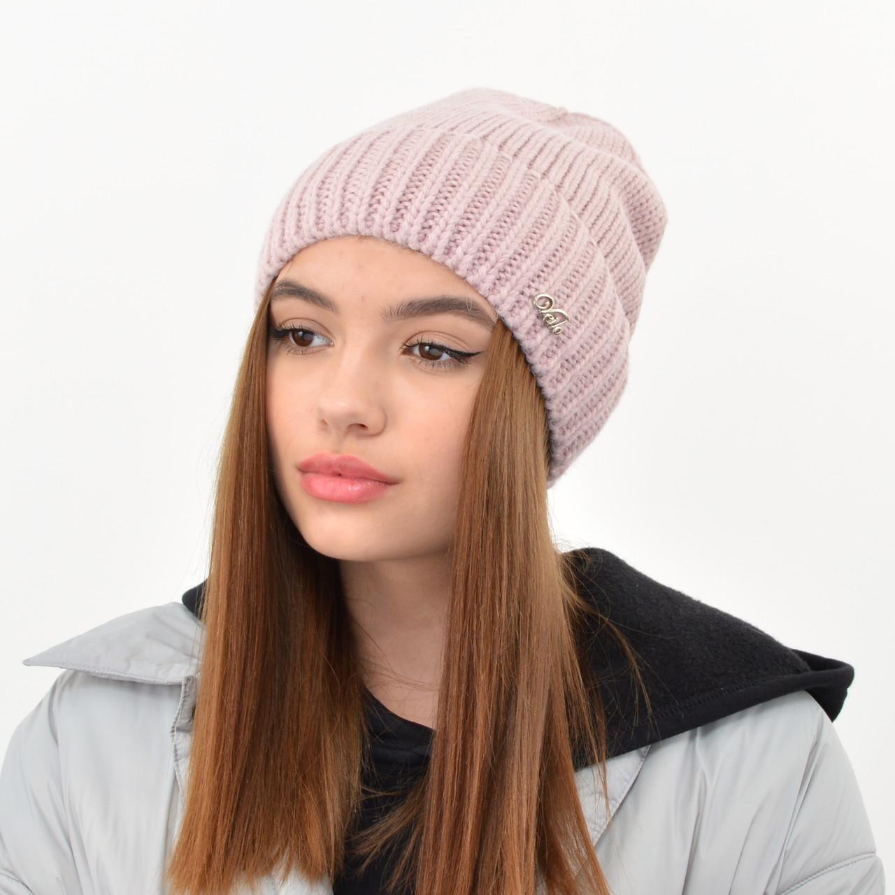 Женская шапка veilo на флисе 3389  пудра