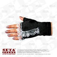 Черные перчатки-митенки с белой рюшкой атласные короткие без пальчиков