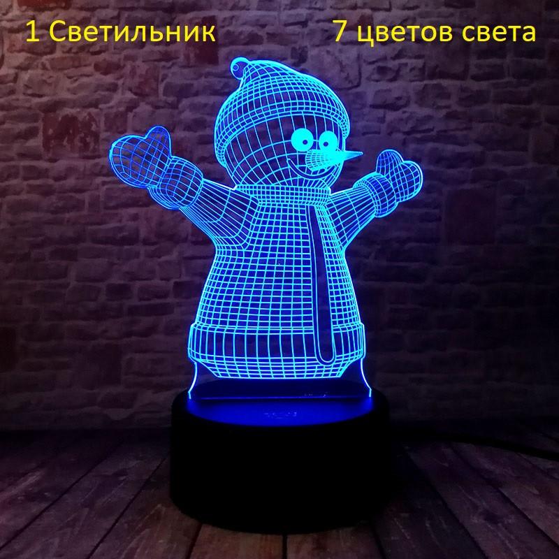 "3D Светильник, ""Снеговик"", Подарок ребенку на день рождения, Подарунок дитині на день народження"