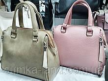 Женская каркасная сумка Люкс 26*20 см (зеленая и пудра)