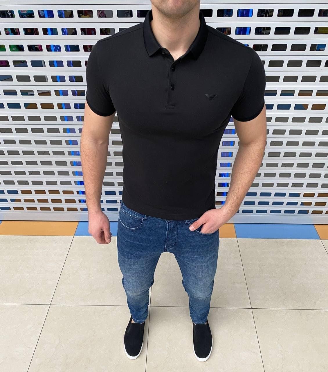Чоловіча футболка поло Armani H1276 чорна