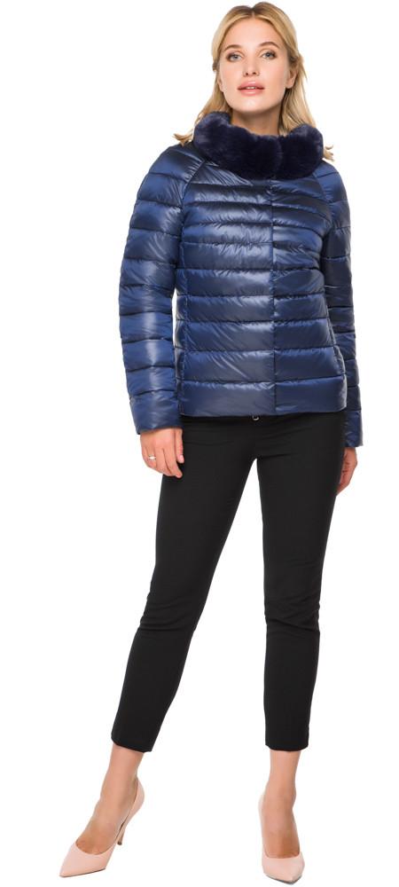 Коротка жіноча осінньо-весняна куртка сапфірове модель 40267 розмір 42 (XXS)