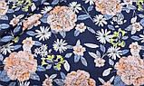 Синій набір лоскутов сатину для рукоділля з квітковим малюнком - 8 відрізів 40*50 см, фото 2